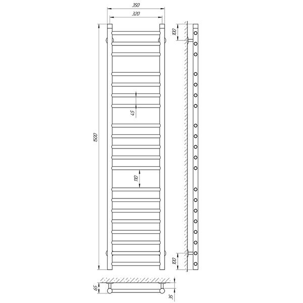 Схема - Полотенцесушитель Laris Альфа П20 320 х 1500