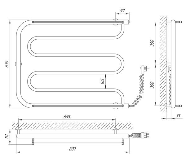 Схема - Полотенцесушитель Laris Фокстрот П 800 х 600 Э (подкл. справа)