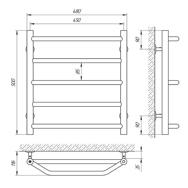 Схема - Рушникосушарка Laris Одеса П5 450 х 500