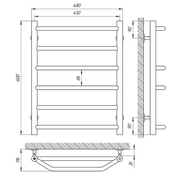 Схема - Рушникосушарка Laris Одеса П6 450 х 600