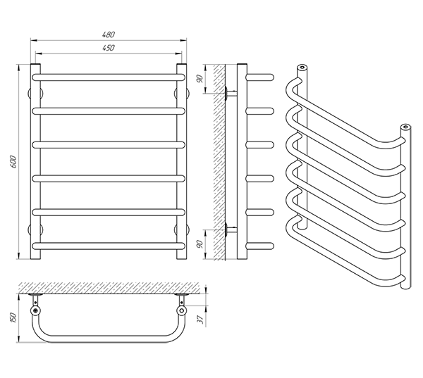 Схема - Полотенцесушитель Laris Стандарт К6 450 х 500