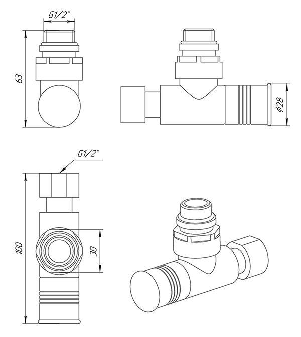 Кран кутовий Luxon Звичайний ZZ-4702 - Схема