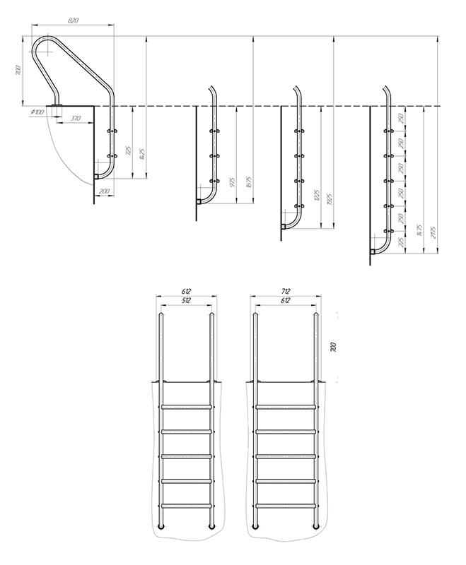Схема - Лестница в бассейн Laris Versalles