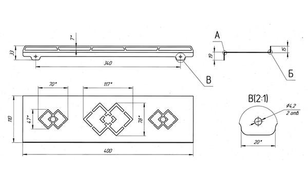 Схема - Полка в ванную Laris Retro 400 прямая