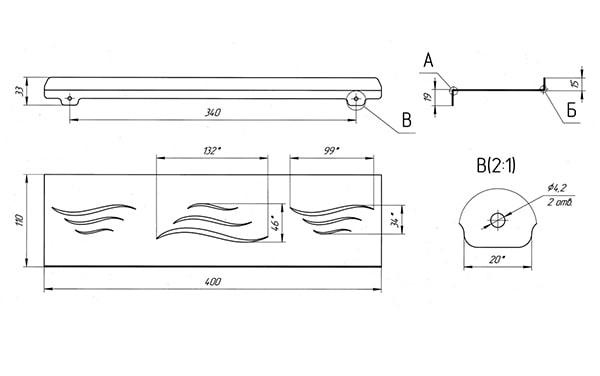 Схема - Полка в ванную Laris Wave 400 прямая