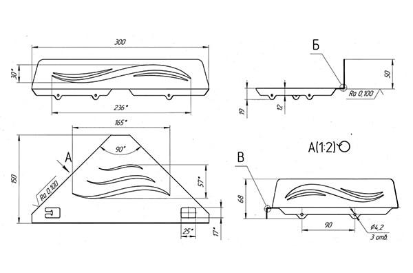 Схема - Полка в ванную Laris Wave L угловая