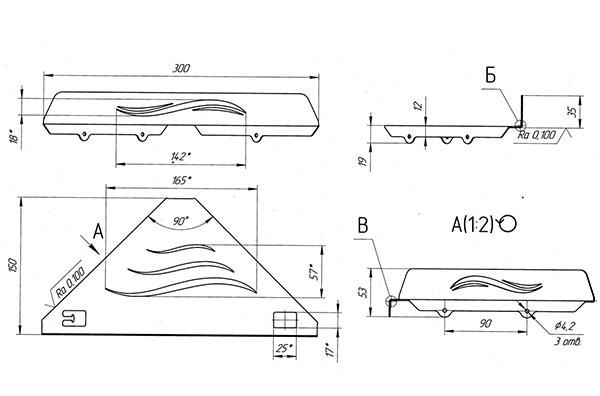 Схема - Полка в ванную Laris Wave M угловая