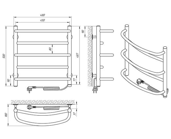 Схема - Полотенцесушитель Laris Евромикс П5 450 х 500 Э (подкл. справа)