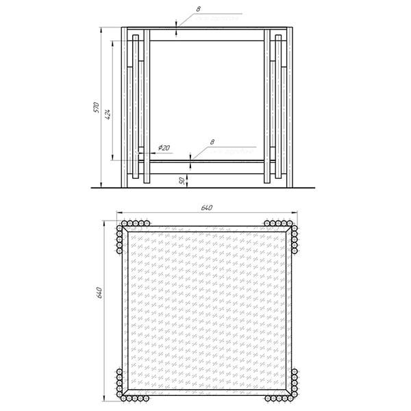 Схема - Журнальний стіл Laris нерж.сталь/загартоване скло