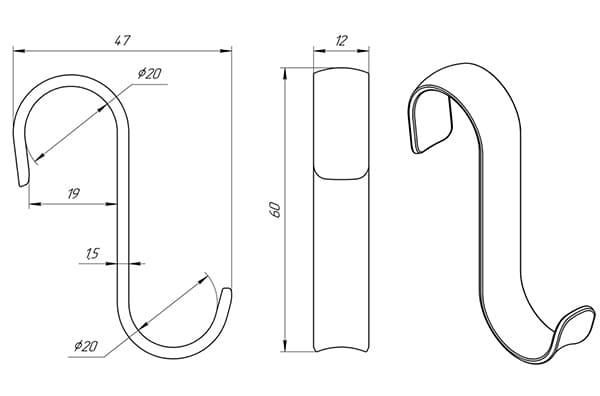 Схема - Крючок Laris з'ємний S-подібний полірований (12 мм)