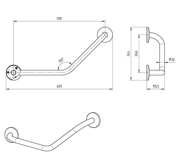 Схема - Поручень Laris пристенный 135° для санузлов
