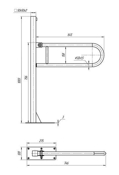 Схема - Поручень Laris напольный откидной с держателем (перемычкой)