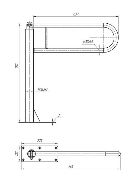 Схема - поручень напольний відкидний з перемичкою