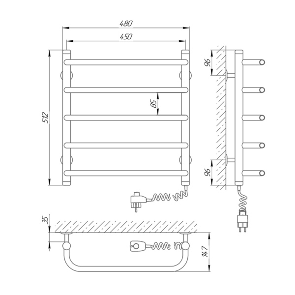 Схема - Полотенцесушитель Laris Стандарт П5 450 х 500 Э (подкл. справа)