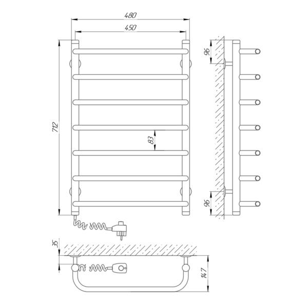 Схема - Полотенцесушитель Laris Стандарт П7 450 х 700 Э (подкл. слева)