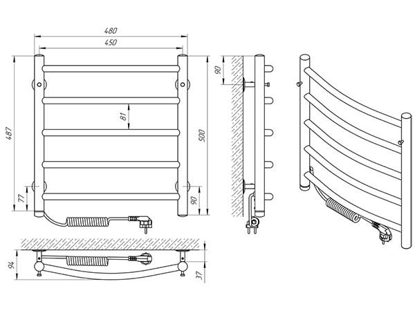 Схема - Рушникосушарка Laris Класік П5 450 х 500 Е (підкл. зліва)