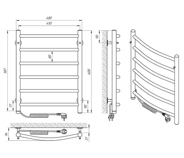 Схема - Рушникосушарка Laris Класік П6 450 х 600 Е (підкл. зліва)