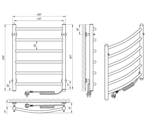 Схема - Рушникосушарка Laris Класік П6 450 х 600 Е (підкл. справа)