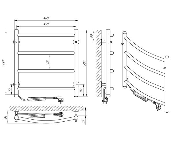Схема - Рушникосушарка Laris Класік П4 450 х 500 Е (підкл. зліва)