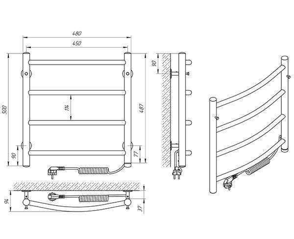 Схема - Полотенцесушитель Laris Классик П4 450 х 500 Э (подкл. справа)
