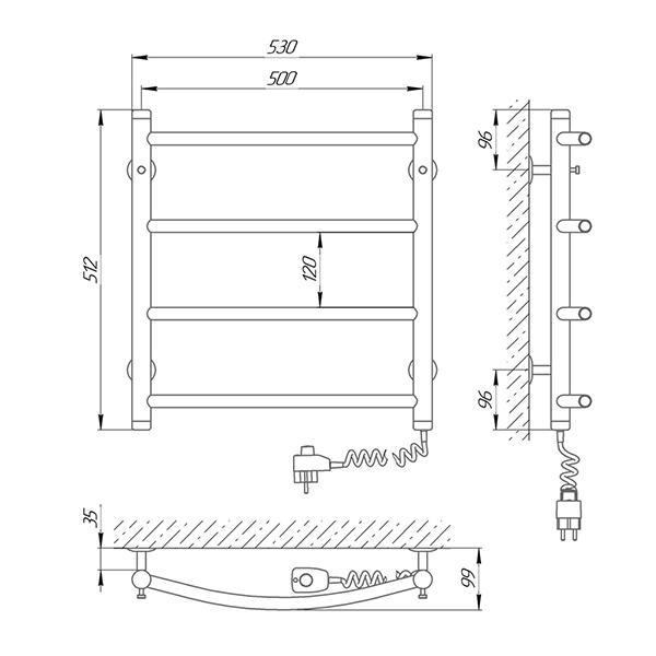 Схема - Електрична рушникосушарка Laris Класік П4 500 х 500 Е (підкл. справа)