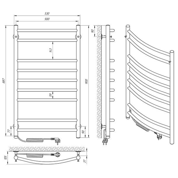 Схема - Полотенцесушитель Laris Классик П9 500 х 900 Э (подкл. слева)