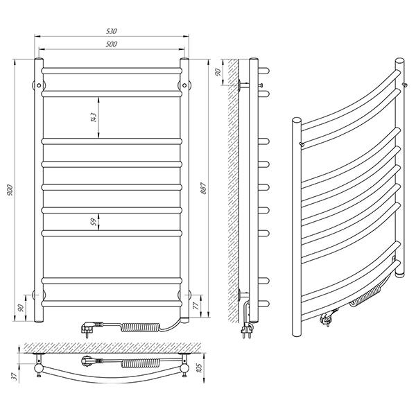Схема - Полотенцесушитель Laris Классик П9 500 х 900 Э (подкл. справа)