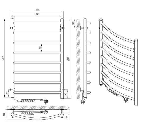 Схема - Рушникосушарка Laris Класік П8 500 х 800 Е (підкл. зліва)