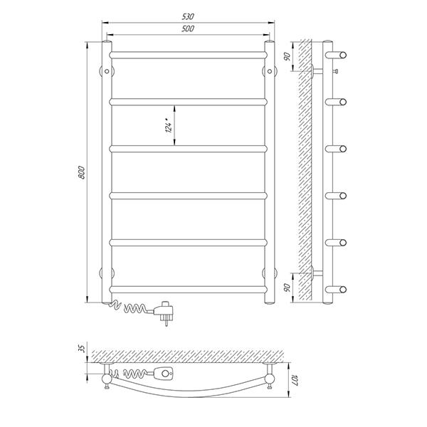 Схема - Полотенцесушитель Laris Классик П6 500 х 800 Э (подкл. слева)