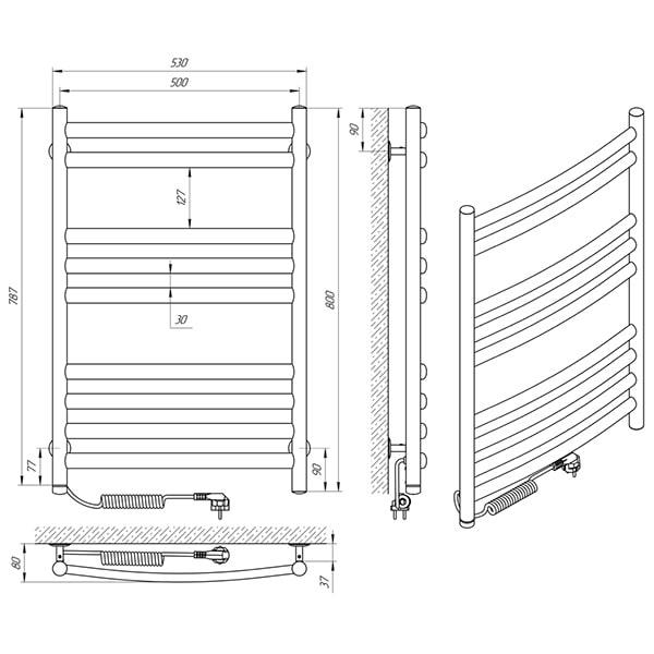 Схема - Електрична рушникосушарка Laris Класік Преміум П9 500 х 800 Е (підкл. зліва)