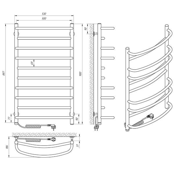 Схема - Полотенцесушитель Laris Евромикс П10 500 х 900 Э (подкл. слева)