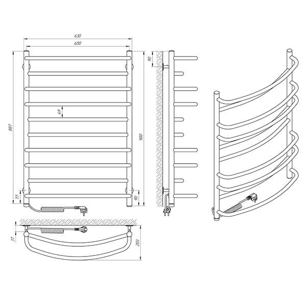 Схема - Полотенцесушитель Laris Евромикс П10 600 х 900 Э (подкл. слева)