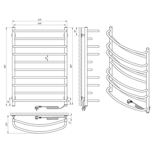 Схема - Рушникосушарка Laris Євромікс П10 600 х 900 Е (підкл. справа)