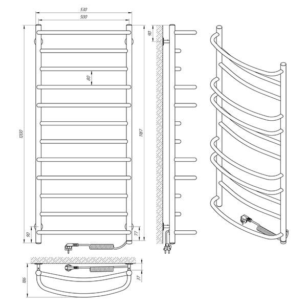 Схема - Электрический полотенцесушительLaris Евромикс П12 500 х 1200 Э (подкл. справа)
