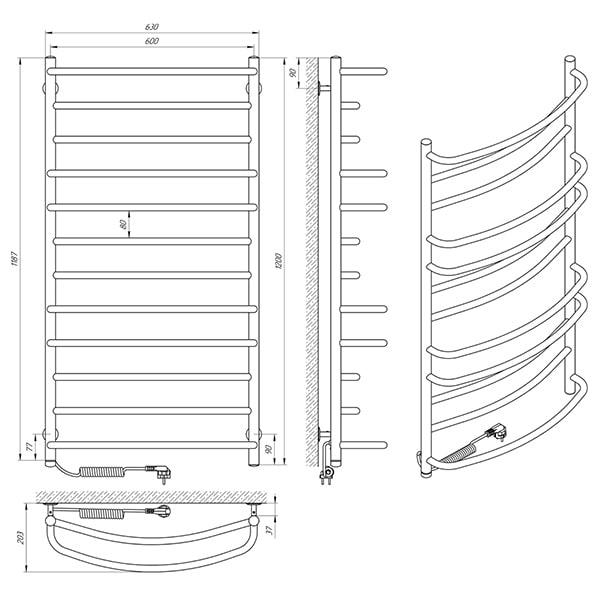 Схема - Электрический полотенцесушительLaris Евромикс П12 600 х 1200 Э (подкл. слева)