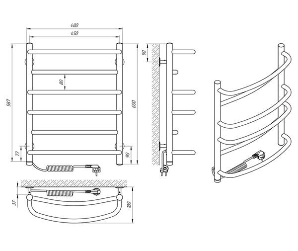 Схема - Рушникосушарка Laris Євромікс П6 450 х 600 Е (підкл. зліва)