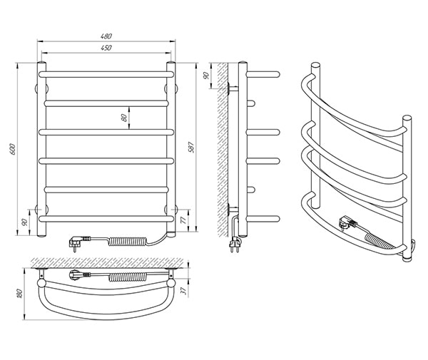 Схема - Рушникосушарка Laris Євромікс П6 450 х 600 Е (підкл. справа)