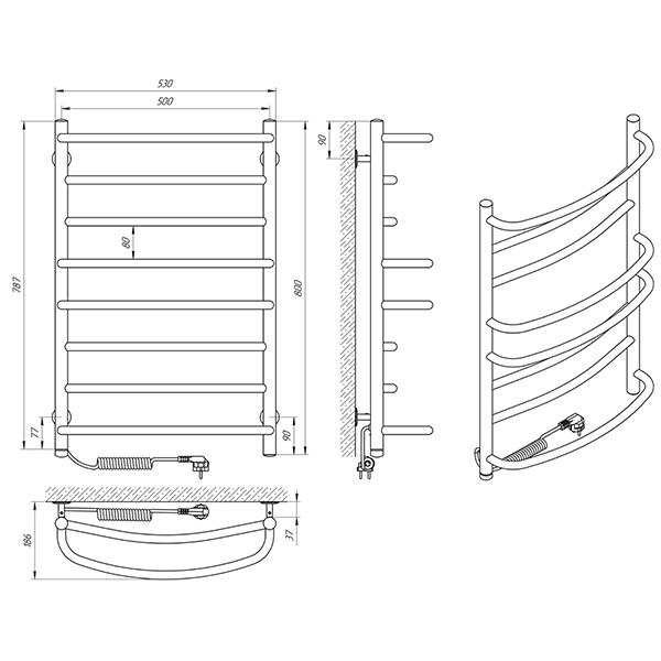 Схема - Полотенцесушитель Laris Евромикс П8 500 х 800 Э (РТ, БС) (подкл. слева)
