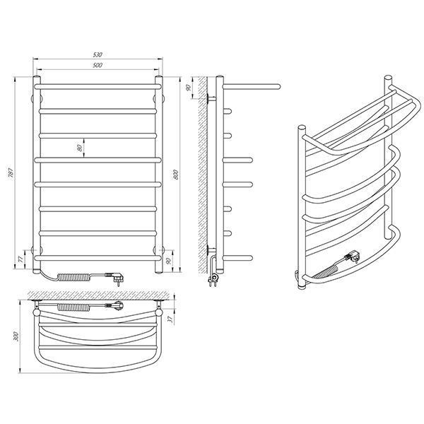 Схема - Полотенцесушитель Laris Евромикс П8 500 х 800 Э с полкой (подкл. слева)