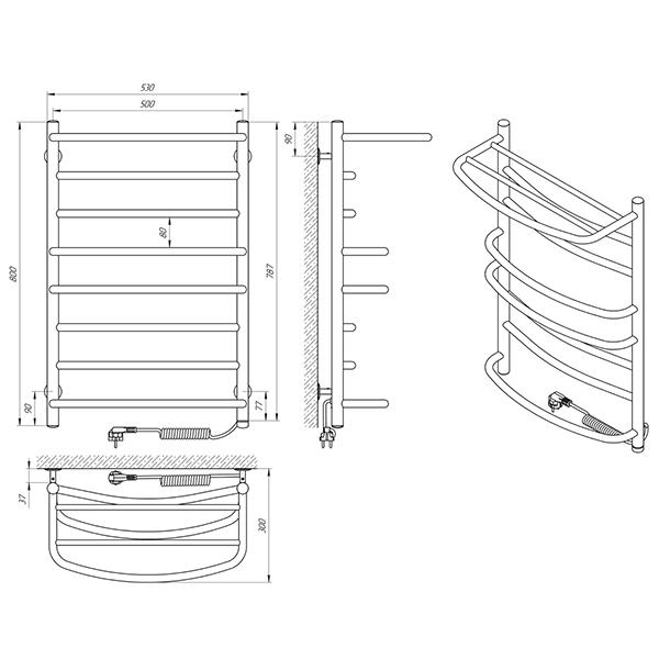 Схема - Полотенцесушитель Laris Евромикс П8 500 х 800 Э с полкой (подкл. справа)