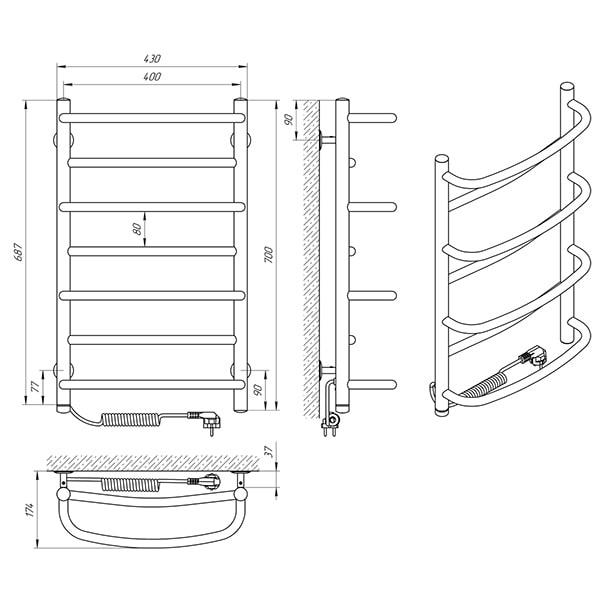 Схема - Рушникосушарка Laris Євромікс П7 400 х 700 Е (підкл. зліва)