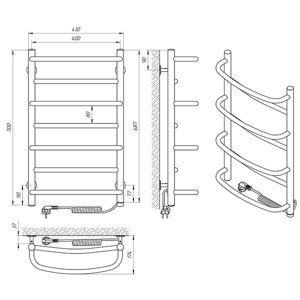 Схема - Полотенцесушитель Laris Евромикс П7 400 х 700 Э (подкл. справа)