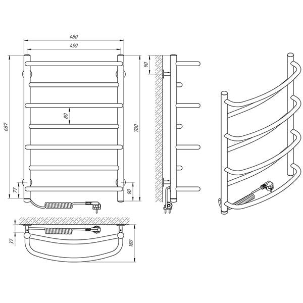 Схема - Рушникосушарка Laris Євромікс П7 450 х 700 Е (підкл. зліва)