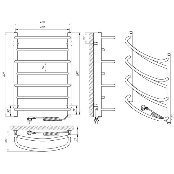 Схема - Полотенцесушитель Laris Евромикс П7 450 х 700 Э (подкл. справа)
