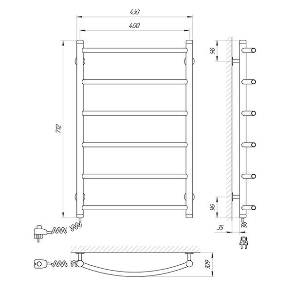 Схема - Полотенцесушитель Laris Флеш П6 400 х 700 Э (подкл. слева)