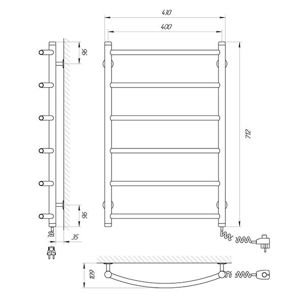 Схема - Полотенцесушитель Laris Флеш П6 400 х 700 Э (подкл. справа)