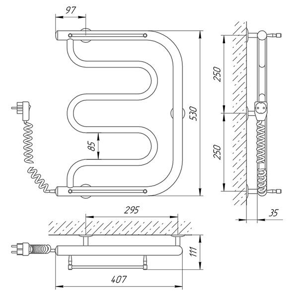 Схема - Полотенцесушитель Laris Фокстрот П 400 х 500 Э (подкл. слева)