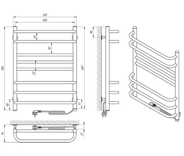 Схема - Полотенцесушитель Laris Комфорт Люкс П8 500 х 700 Э (подкл. справа)