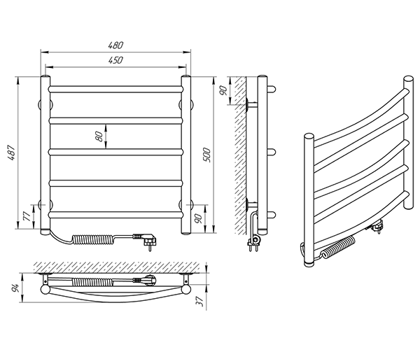 Схема - Полотенцесушитель Laris Микс П5 450 х 500 Э (подкл. слева)