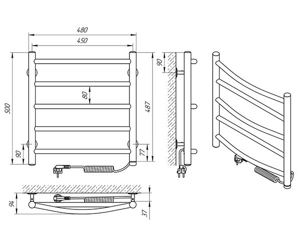 Схема - Полотенцесушитель Laris Микс П5 450 х 500 Э (подкл. справа)